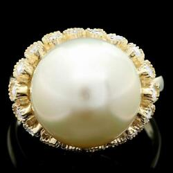6700 Certified 14k Yellow Gold Rare 13mm Pearl 0.75ct Diamond Ring Made In Usa