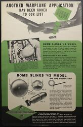 C.1943 Diamond Chain Co. Wwii Factory Poster Bomber Bomb Slings Vintage Original