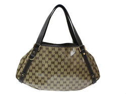 Gg Canvas Nylon Bag Beige Brown Gg Crystal Leather Used