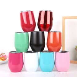50pcs12oz Double Wall Stainless Steel Insulated Eggshell Cup Wine Tumbler And Lid