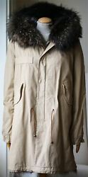 Mr And Mrs Italy Army Parka Jacket With Coyote And Raccoon Fur Medium