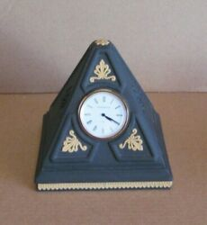Wedgwood Jasperware Pyramid Clock Black And Cane Yellow Library Collection
