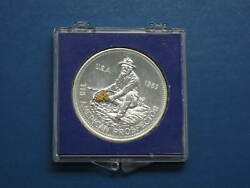 1983 Engelhard Prospector With Gold Nugget In Pan 1oz Specialty Silver Round