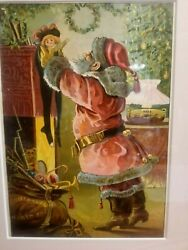 Fantastic 1890and039s Santa Claus Color Print Mantle W Stocking Doll Toys Hayes Litho