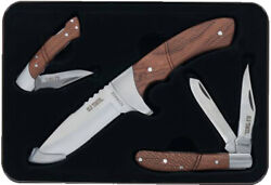 Schrade Old Timer 1130047 3-piece Gift Set 1 Fixed Blade Knife And 2 Folding Kniv