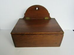 Antique 19th Century Dovetailed Wall Hanging Divided Candle Pine Box