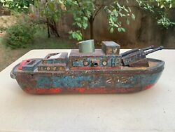 1950's Vintage Rare Unique Battery Operated Tin Military Gun Boat 206 Litho Toy