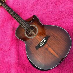 All Koa Wood 12 Strings K24ce Acoustic Guitar With Cutaway New Free Shipping