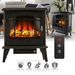 Warm 20 1400w Portable Electric Fireplace Heater Log Flame Stove Free Standing