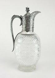 Beautiful Antique English Sterling Silver Crystal Decanter Ewer