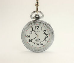 Belair Stainless Steel Railroad Pocket Watch With Chain Made In Usa Swiss Moveme
