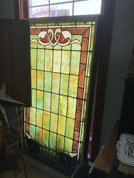 Antique Large Old Stain Glass Window. 6ft 38 Wide.
