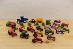 Ertl And Matchbox Asst Diecast Plastic Tractors Toys 1/64 And 1/87 Scale 27 Pieces