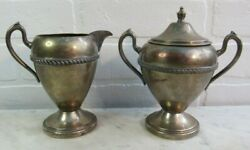 Gotham Silver On Copper Creamer And Sugar With Lid Footed Large 6 High