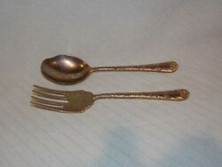 Wm. Rogers And Sons Serving Fork And Spoon Set Silver Plated