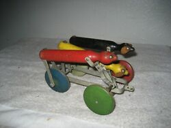 Antique 1927 The Toy Tinkers Tinker Toys Pull Toy Tinker Racing Wood Metal Dog