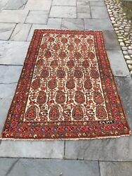 Antique Tribal Rug. Hand Knotted Wool Organic Dyes All Over Paisley 4andrsquo X 7andrsquo