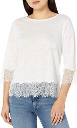 Majestic Filatures Women's Linen 3/4 Sleeve Boat Neck With Lace Trim