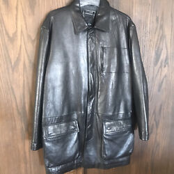 Sean John Vintage Menand039s Black Leather Jacket Size Xl Excellent Used Condition