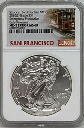 2020 S Silver American Eagle Ngc Ms69 Emergency Production Mint Error