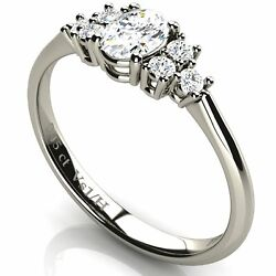 Solitaire Oval Shaped Diamond Engagement 18k Ring With Side Diamonds White Gold