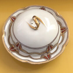 Antique Jandc Bavaria Louise H.p. Arts And Crafts Lg Covered Cheese/butter Dish