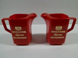 Windsor Canadian Supreme Whisky Pitchers Red Plastic Vintage Whiskey Pair