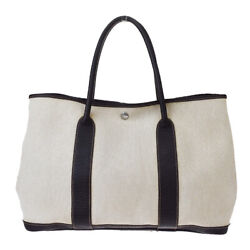 Authentic HERMES Garden Party Hand Tote Bag Canvas Leather Brown France 16BS003 $872.10