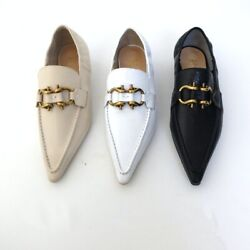 Handmade Women Madame Mocassins Shoes Leather Point Toe Buckle Slip On Loafer