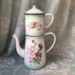 Rare Antique Vtge French Japy Enamelware Coffee Pot Rose/pansy Green Shading