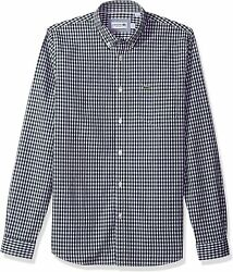 Lacoste Menand039s Long Sleeve With Pocket Gingham Poplin Regular Fit Woven Shirt
