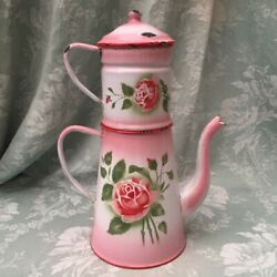 Fabulous Old Vtge French Enamelware Coffee Pot Pink Rose And Shading Cafetière