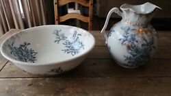 Antique England Wash Basin Bowl And Pitcher Flower Pattern