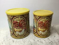 Vintage Folgers Coffee Tin Can Lobster Fruit Fish Rooster Large And Small Set Pair