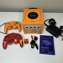 Orange Nintendo Gamecube W/ Gameboy Player + Region Switch Mod + Cars Controller