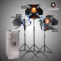 For Studio Photography Fresnel Tungsten Dimming 1000wx3 Spotlight+stand Kit