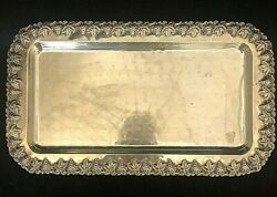 Vintage Hadad Bros Sterling Silver Tray Grapes And Flowers Rim