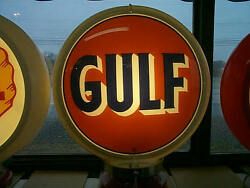 Gas Pump Globe Gulf Repro. 2 Glass Faces And Light Stand New