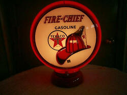 Gas Pump Globe Texaco Fire Chief Repro. And Light Stand New Great For Gifts