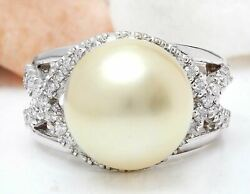 0.75 Carat Natural Diamond 14k Solid White Gold South Sea Pearl Ring