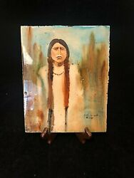 1984 Hand Painted Fine Artist Native American Indian Woman Signed Cynthia W