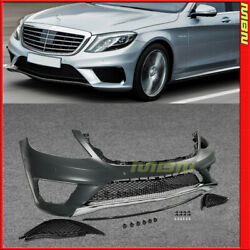 For Mercedes Benz S Class 14-17 Amg Style Front Bumper Cover Splitter Black Trim