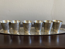 Antique Persian Engraved Silver 84 Shot Glasses And Serving Tray