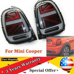 F55 F56 F57 Fit 14-18 Mini Cooper Led Taillights Brake Rear Lamps Smoke+red Pair