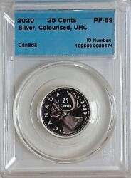 2020 Canada 25 Cents Coloured Caribou Silver Proof Coin Cccs Certified Pf69
