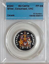 2020 Canada 50 Cent Coat Of Arms Coloured Silver Proof Coin Cccs Certified Pf-69