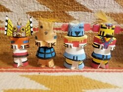 4 1960's Small Wooden Native American Indian Kachina Dolls Rt 66 Trading Post
