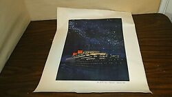 Original 1950and039s Night Time R.m.s. Queen Elizabeth Cunard Line Poster 18 X 22