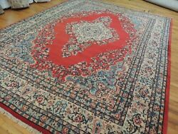 9x12 Semi-antique Hammadan Wool Hand-knotted Oriental Area Rug Red Ivory Blue