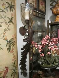 Tuscan Style Old World Metal Wall Sconce Candle Holder 4 Feet Tall